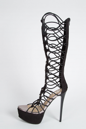Gold Studded Stretchy Stiletto Platform Gladiator Strappy Boot Sandals