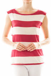 Wide Striped Print Sleeveless Cut-Out Top