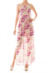 Chiffon Paint Splatter Print Maxi Dress