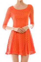 Open Knit Crochet A-Line Skater Mini Dress