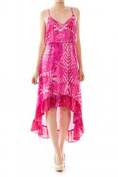 Geometric High Low Ruffle Bottom Dress