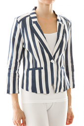 Striped 1 Button Notched Lapel Blazer