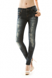Five Pocket Destroyed Denim Skinny Jeans