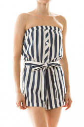 Strapless Tie Waist Stripe Button Front Romper