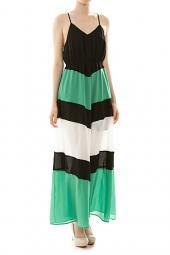 Spaghetti Strap Color Block Racerback Maxi Dress