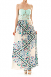 Lace Top Detail Abstract Print Maxi Dress