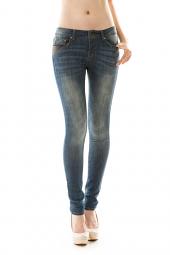 5 Pocket Leather Detail Denim Skinny Jeans