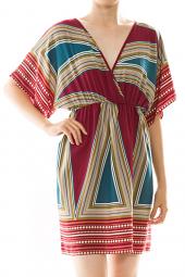 Triangle Print Surplice Kimono Mini Dress
