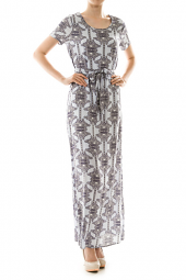 Unique Print Waist Tie Short Sleeve Maxi Dress
