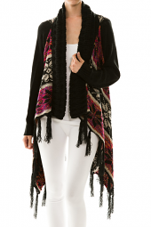 Colorful Winter Print Knit Cardigan