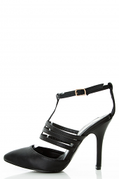 Strappy Cage T-Ankle Strap Medium High Pump Sandals
