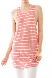 Sleeveless Open Draped Back Stripe Tunic