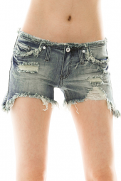 Frayed and Destroyed Cut-Off Denim Shorts