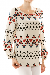 Tribal Print Long Sleeve Crossback Top