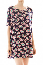 Colorful Daisy Print Short Sleeve Sheath Mini Dress