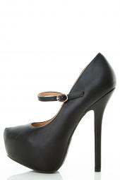 Round Toe Mary Jane Stiletto Platform Buckle Strap Sandals