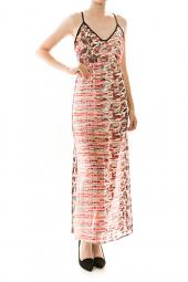Abstract Sleeveless Chiffon Maxi Dress