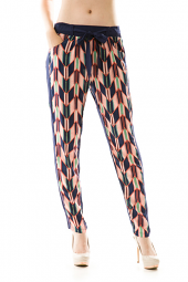 Geometric Print Waist Tie Skinny Pants