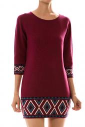 Tribal Print 3/4 Sleeve Knitted Shift Mini Dress