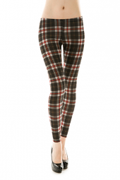 Classic Plaid Print Stretch Fit Leggings
