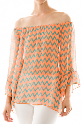 Off Shoulder Sheer Flutter Sleeve Chevron Top