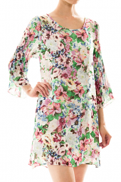 Floral Accordion Sleeve Tie Back Shift Dress