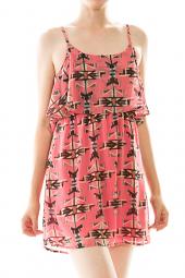 Abstract Tribal Flounce Detail Mini Dress