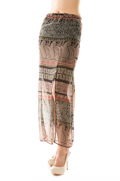 Banded Tribal Print Side Slit Maxi Skirt