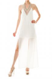 Embroidered Halter M-Slit Chiffon Maxi Dress
