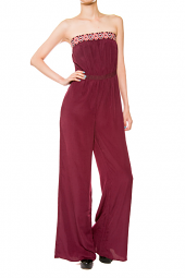 Tube Top Tribal Accent Wide Leg Jumpsuit