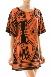 Abstract Print Wide Sleeve Mini Dress