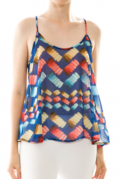 Colorful Marshmallow Print Trapeze Top