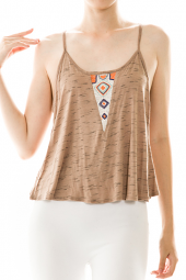 Open Back Embroidered Tribal Camisole