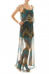 Open Back Flutter Top Tribal Maxi Dress