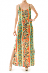 Abstract Print Low Back Side Slit Maxi Dress