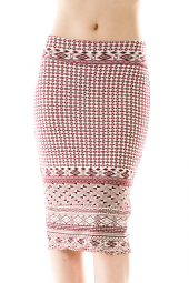 Mixed Tribal Print Stretch Pencil Skirt