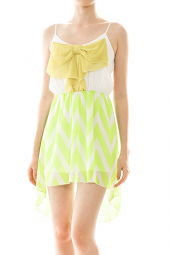 Large Bow High Low Chevron Print Dress