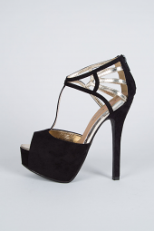 Peep Toe Caged Cut Out T-Strap Stiletto Heel Platform Pump Shoes