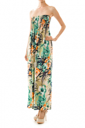 Tropical Floral Print Stretch Top Maxi Dress