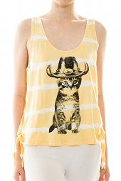 Jeweled Kitty with Hat Side Tie Tank Top