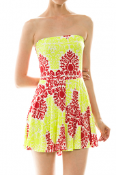 Colorful Damask Print Strapless Flared Romper