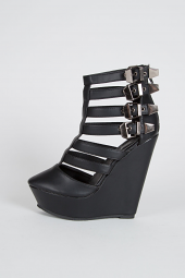 Ankle Strap Buckle Cut Out Cage Platform Sandal Wedges