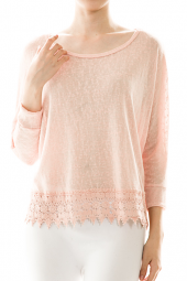 Burnout Lace Hemline Pullover Sweater Top