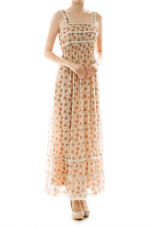 Lovely Floral Spaghetti Strap Lace Accent Maxi Dress