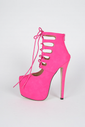 Lace Up Cut Out Cage Stiletto Platform Heel Sandal Booties