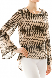Zig Zag High Low Bell Sleeve Pleated Blouse Top
