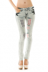 Destroyed American Flag Denim Skinny Jeans