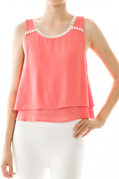 Layered Crochet Trim V-Back Tank Top