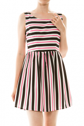 Sleeveless Stripe Print Skater Mini Dress