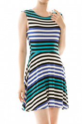 Striped Print Sleeveless Skater Mini Dress